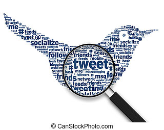 Magnifying Glass - Tweeting Bird - Magnifying glass with a...