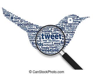 擴大, 玻璃, -, Tweeting, 鳥