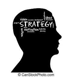 Silhouette head - Strategy - Silhouette head with the word...