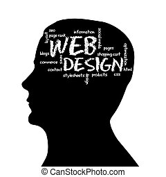 Silhouette head - Web Design - Silhouette head with the word...