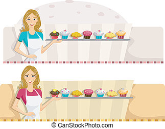Patisserie Web Banner - Illustration of a Web Banner with a...