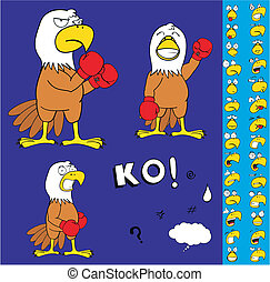 eagle boxer cartoon set1 - eagle boxer cartoon set in vector...