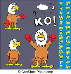 eagle boxer cartoon set3 - eagle boxer cartoon set in vector...