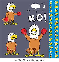 eagle boxer cartoon set3 - eagle boxer cartoon set in vector...