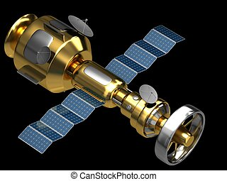 Model of an artificial satellite - Gold model of an...