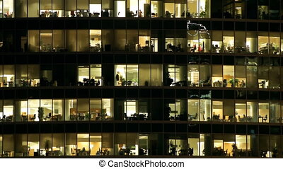 Windows in business center - Windows of offices in business...