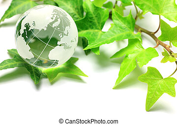image of eco - I put a terrestrial globe and a leaf together...