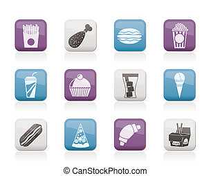 fast food and drink icons - vector icon set