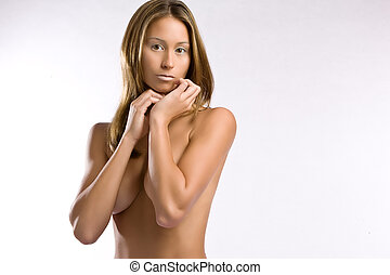 Naked woman - Beautiful woman naked on white studio...