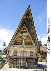 Traditional Batak house on the Samosir island.
