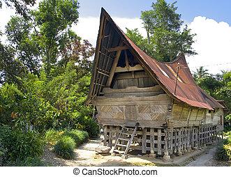 Traditional Batak house on the Samosir island