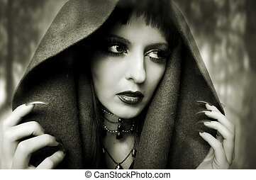 Halloween concept. Fashion portrait of woman - Halloween...