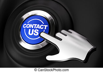 Contact us button and a computer hand. Black background