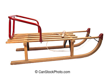 Wooden sledge isolated on white