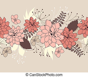 Seamless pastel pink border with forest flowers and plants