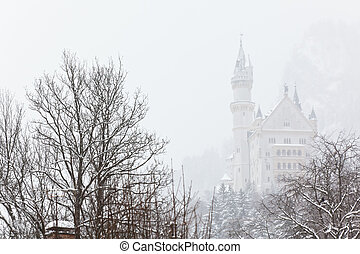 Neuschwanstein Castle - Bavarian Neuschwanstein Castle at...