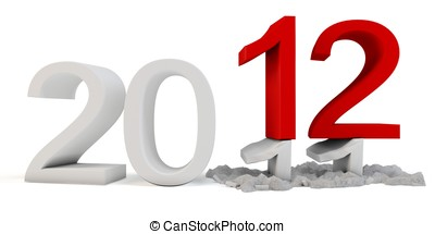 3d Happy New Year 2012  on white background