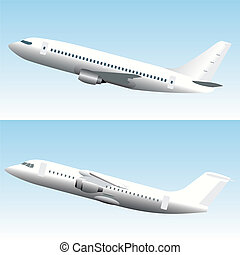 Blanc Commercial Airplanes Set
