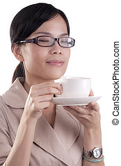 Morning Coffee aroma - Asian business woman about to enjoy...