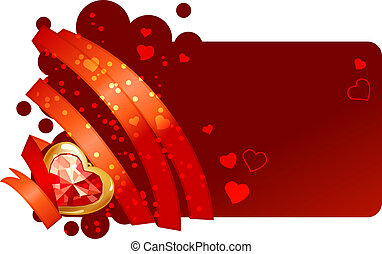 Valentine greeting card with red ribbon and jewel