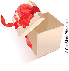 Open realistic giftbox with red silk bow