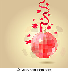 Saint valentine's background with hanging red ball