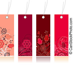Four red shopping floral tags for any seasons
