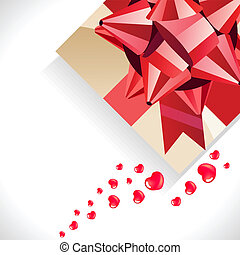 Background with gift box,hearts and big red bow