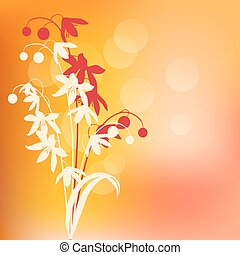 Contour spring flowers on warm abstract background
