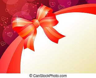 Saint Valentine greeting card with big bow