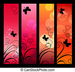 Vertical red banners with absract flowers and butterflies