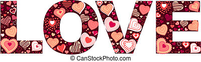 """Valentine sign """"love"""" made of small hearts"""