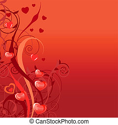 Red saint valentine greeting card with plants and hearts
