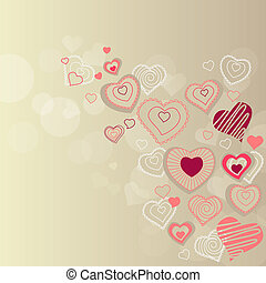 Valentine greeting card with different red hearts
