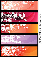 Four red horizontal floral banners with hearts