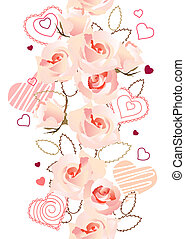 Vertical seamless pattern made of roses and hearts