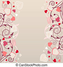 Beige background with different contour pink hearts