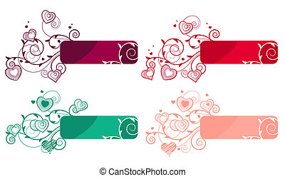 Ornate labels with flourishes and small hearts