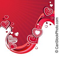 Red stylized hearts on abstract wavy background