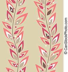 Seamless beige floral pattern with pink plants
