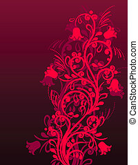 Beautiful red floral ornate background with stylized flowers