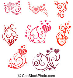 Ornate design elements with different hearts and flourishes