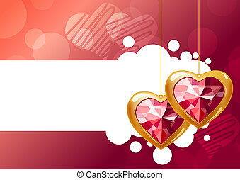 Two hanging jewel hearts on pink background