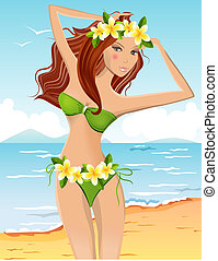 Young girl in bikini with floral Hawaiian wreath