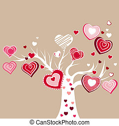 Stylized blooming tree with different red hearts