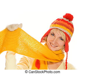 Beautiful smiling girl in winter clothing Lots of...