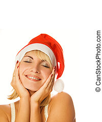 Mrs Santa dreaming about Chrismas presents isolated on white...