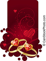 Two gold rings on red vertical frame