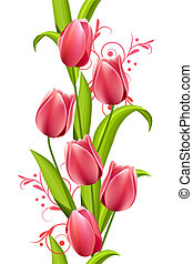 Vertical seamless pattern made of tulips on white background