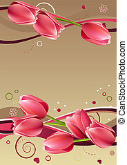 Valentine frame with hearts, tulips and abstract elements